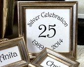 3 Silver Wedding Frames Customizable Anniversary Frame Set in Silver Boules or Simple Silver Style