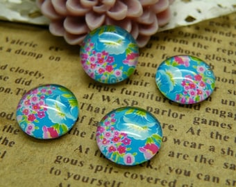Handmade Glass Cabochon 10pcs 12mm Image Flower Glass Cabochon P72--20% OFF