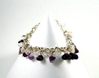 Purple Crystal Bracelet - Amethyst and Quartz Bracelet - Handmade Crystal Bracelet - Energy Bracelet