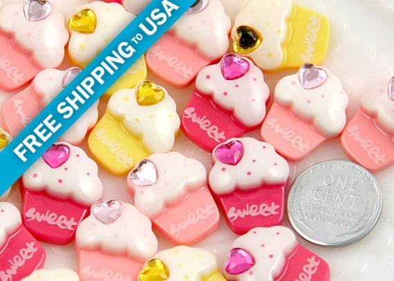 20mm Mini Cupcake Resin Cabochons, Mixed colors - 8 pc set