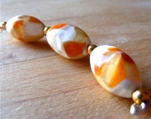 Lampwork Glass Beads, Vintage Japanese Glass Beads, 3pcs, Peaches Cream Oval Beads, 20mm, Destash