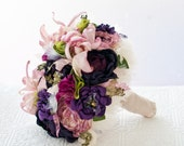 Brooch Bouquet, Fabric Flower Tropical Wedding Bouquet, rhinestone pearl brooches, purple magenta bouquet, bright lime, summer wedding beach
