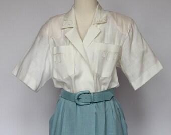 80's  Linen Shirtwaist Dress with Belt / Leslie Fay / Medium to Large