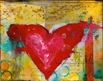 "Inky Heart 8""x10"" Mixed Media Art Print - Home Decorating, Heart Art, Unframed Art Print"