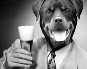 Custom Beer Drinker - 1 5x7 - JPG FILE - One Personalized Pet Portrait