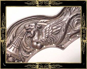 Antique Rare sterling Purse Frame 19th Century GORHAM Snake Dragon Griffin  & Florette Chain MUSEUM Piece
