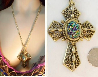 Medieval Gothic Dragons EGG GLass Cross necklace