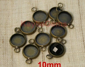 10mm Cabochon Cab Setting Bezel Tray Connector Links 2 Ring Antique Brass  FM-PT10MM-AB - 8pcs