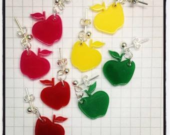 Apple Earrings - laser cut acrylic