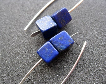 lapis earrings. dark cobalt blue earring. lapis lazuli jewelry.