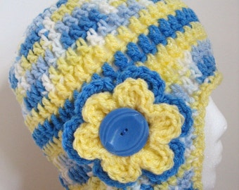 Yellow & Blue Crochet Earflap Hat - Crocheted Girls Winter Hat - Size 1 to 4 Years - Ready To Ship -