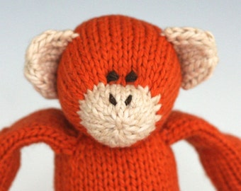 "Pumpkin Monkey - Hand Knit Organic Cotton Eco Friendly Stuffed Animal - Classic Toy Primate, 10"" tall"