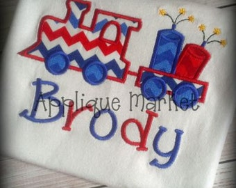 Machine Embroidery Design Applique Train Fireworks INSTANT DOWNLOAD