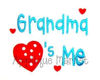 Machine Embroidery Design Applique Grandma Hearts Me INSTANT DOWNLOAD