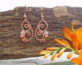 Butterfly Wing Earrings - Rose Quartz rondelle and copper
