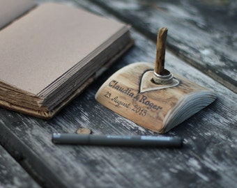 Rustic wood  pen holder for wedding guest book