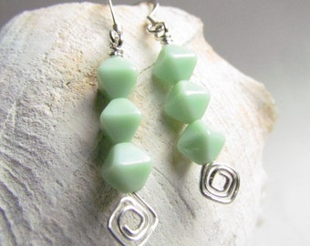 Mint Green Beaded Earrings, Chevron Design, Handmade by Harleypaws, SRAJD