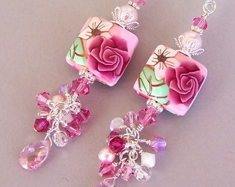 Pink earrings, pink floral earrings, polymer clay, strawberry, pink cluster earrings, gift, Swarovski crystal elements