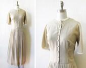 beige 50s dress, 1950s L'Aiglon dress, vintage xl lpleated dress,