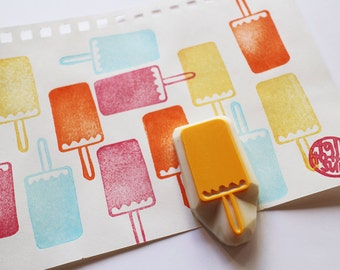 popsicle rubber stamp. ice cream hand carved stamp. ice candy stamp. ice pop stamp. birthday card making. summer crafts. craft with children