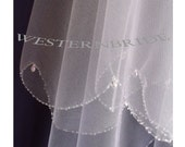 Tear drop crystals edge  2 tier Elegant Wedding Bridal veil. White or Ivory , your choice. elbow lenght with silver comb ready to wear