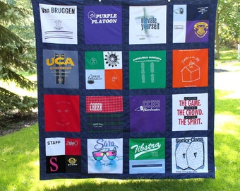 Custom T Shirt Memory Quilt Blanket -  16 Block - 6' Square Blanket