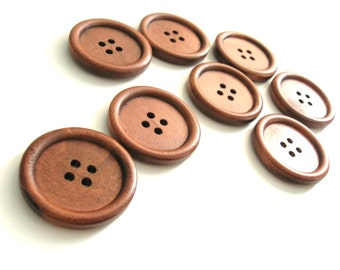 Chesnut brown Wooden Sewing Buttons 30mm - set of 6 natural wood button  (BB131B)