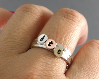 Initial Rings, Stack Rings, Silver Stack Rings, Brass, Sterling, And Copper Rings, Set Of Three