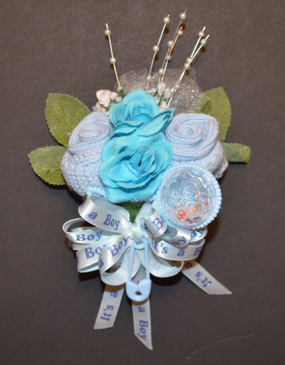 Boy's Baby Sock Rose Corsage Decorative Rattle Boy or Girl