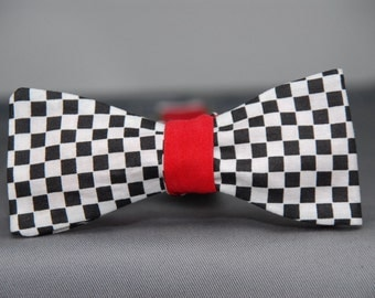 Black and White with Red Checkered  Bow Tie
