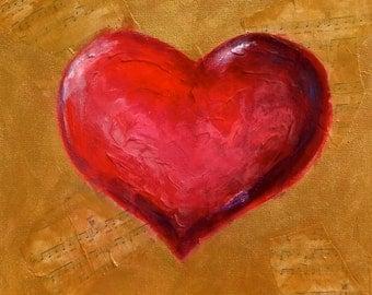 Sheet Music Collage Love Song Heart, Original Wall Art Painting, Anniversary Gift,