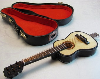 Mini Guitar 128 GB USB Flash Drive with Detailed Guitar Carrying Case
