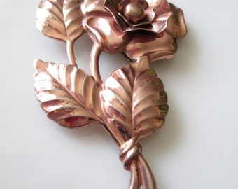 Large Pink Gold Wash Sterling Silver Prominent Rose Pin Brooch