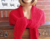 SCARLET red knit crochet wool mohair triangle shoulder wrap shawl scarf an irish granny original