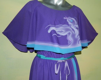 L Vintage 70s Purple Dress Cape Bodice Carnival Mystical Ethereal Abstract Design