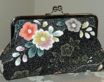 Clutch/Purse/Bag..Cherry Blossom Silk Kimono Floral..Long Island Bridal/Wedding/Holiday Handmade Gift..Peach/Teal/Black/Gold..Scarf/Wrap