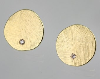 Textured Chunk Post Earrings in 18K Yellow Gold and Diamond