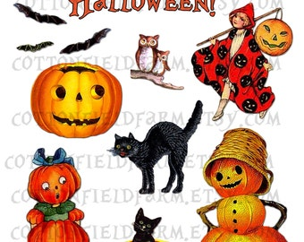 Vintage Halloween Clip Art Digital Collage  C-469 for Tags, Scrapbooking, Cards, Heat Transfers, 2 Sheets, Commercial Use