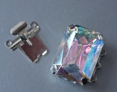 3 Strand Vintage Czech Silver and Pink Mystic Large Emerald Cut Stone Push Clasp