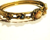 Vintage Brass Art Deco/Art Nouveau Cameo Bracelet with Snake, Bee, and Flowers - Refurbished