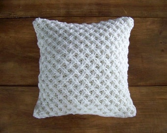 As seen in BHG magazine lattice knit pillow - warm white - knitted pillow - sweater pillow - hand knit - ivory