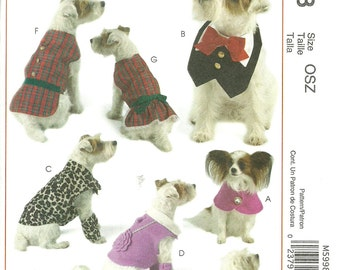 MCCALL'S PATTERN M5998, dog coats, eight styles, for all sizes of dogs, new and uncut