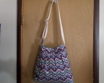 Pleated Chevron Diaper Bag/Handbag/Tote Adjustable Strap