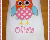 Girls Personalised Owl  Appliqued Tee T Shirt