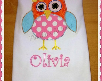 Girls Personalised Owl  Appliqued Tee T Shirt