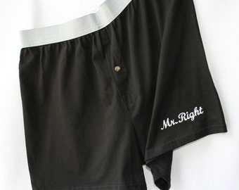 BRIDAL Wedding Honeymoon - Shower Favor - Boxers - Mr Right - Accessory - Sexy - Embroidery