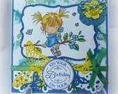Swinging by to say Hi - gorgeous handmade brithday card with hand coloured Lili of the Valley  stamp