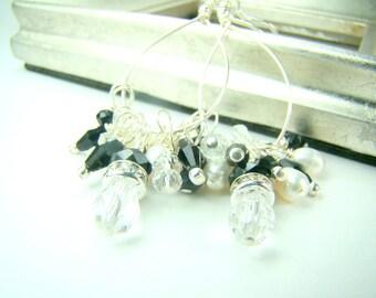 Black and white dangle earrings, freshwater pearl earrings, crystal chandelier earrings, long silver earrings