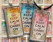 1x2 inch Digital Collage Sheet KEEP CALM and CARRY On Printable Download for domino size pendants, magnets, paper goods, bezel settings