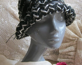 Vintage  black white woven raffia cloche hat, black white spectator style brimmed fitted cap, asymmetric black white hat  Small Union label